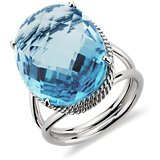 Bague en topaze bleue suisse ovale en Or blanc 14 ct