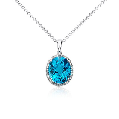 NEW Swiss Blue Topaz and White Sapphire Halo Oval Pendant in Sterling Silver (12x10mm)