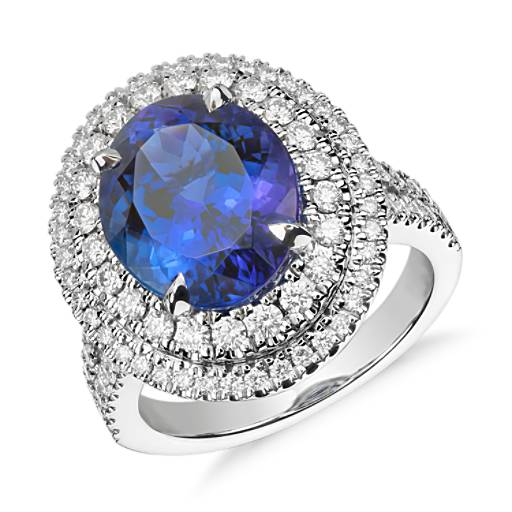 Bague tanzanite ovale et double halo de diamants en or blanc 18 carats (5,17 carats centre)