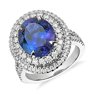 Oval Tanzanite and Diamond Double Halo Ring in 18k White Gold (5.17ct. center)