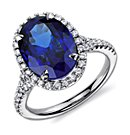 Oval Tanzanite and Diamond Ring in 18k White Gold (8.42 ct)