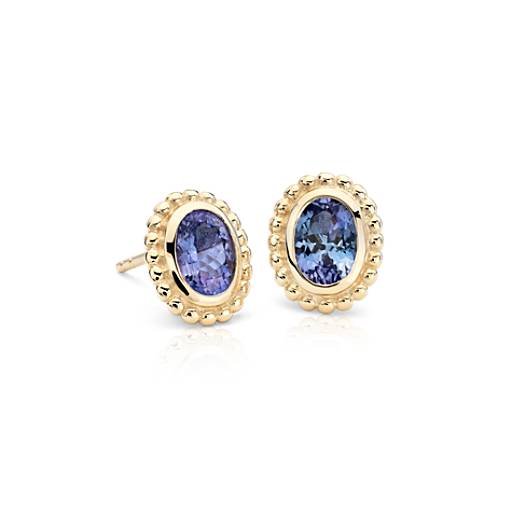 Oval Tanzanite Bead Earrings in 14k Yellow Gold (7x5mm)