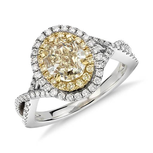 Bague double halo de diamants ovales jaune fantaisie en or blanc et jaune 18 carats