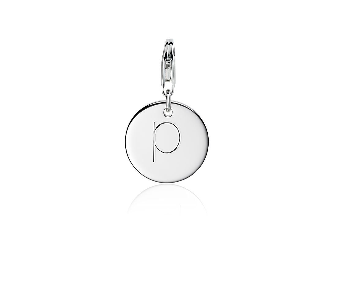 """P"" Initial Charm in Sterling Silver"