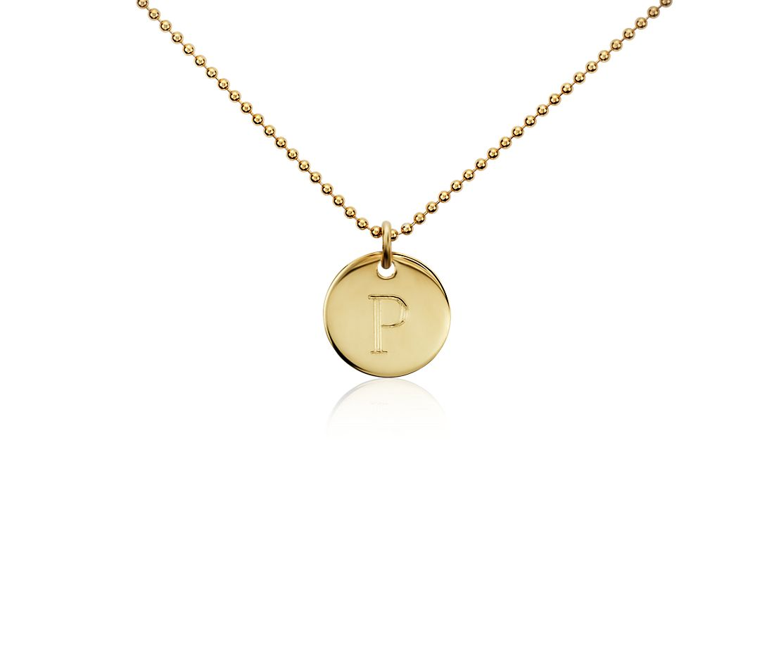 """P"" Mini Initial Pendant in Gold Vermeil"