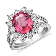Fancy Orange-Pink Sapphire Halo Diamond Split Shank Ring in 18k White Gold (3.10 ct.)