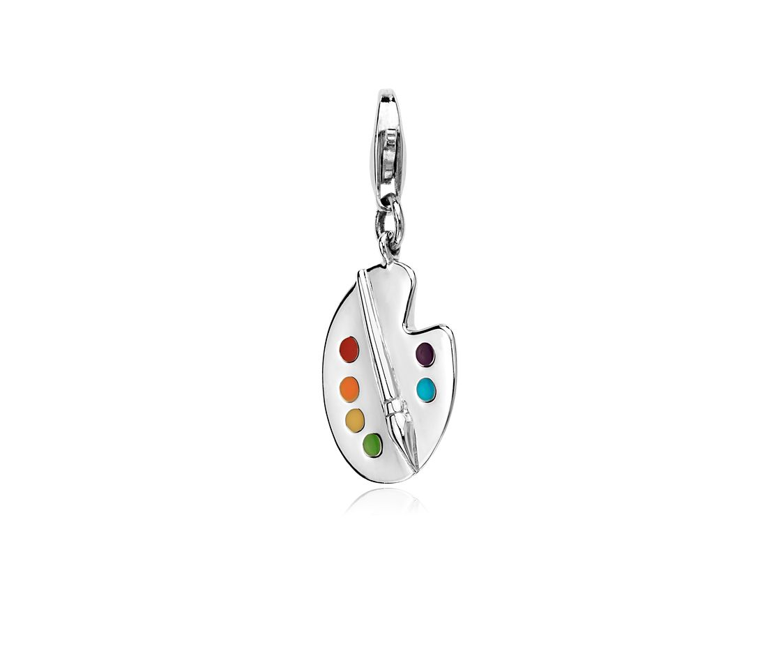 Painters Pallette Charm in Sterling Silver