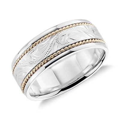 Two Tone Paisley Wedding Ring in 14k White Gold and Yellow Gold (8.25mm)