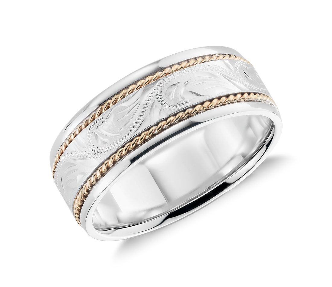 two tone paisley wedding ring in 14k white gold and yellow