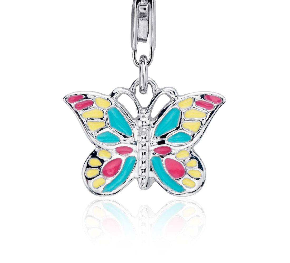 Pastel Butterfly Charm in Sterling Silver