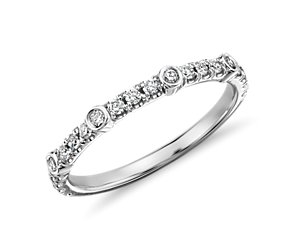 Pavé and Bezel Diamond Ring in 14k White Gold (1/4 ct. tw.)