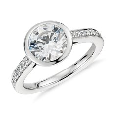 Bezel Set Pavé Diamond Engagement Ring in Platinum
