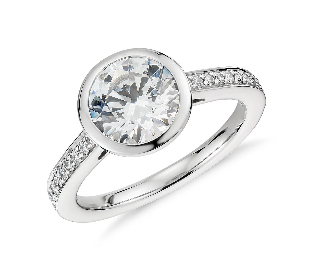 Bezel Set Pavé Diamond Engagement Ring in Platinum (1/6 ct. tw.)