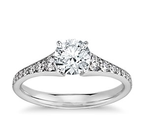 Graduated Pavé Diamond Engagement Ring in 14k White Gold (1/3 ct. tw.)