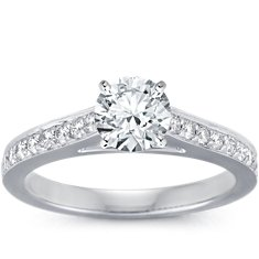 Cathedral Pavé Diamond Engagement Ring