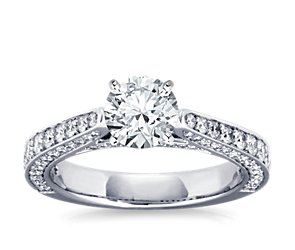 Cathedral Pavé Diamond Engagement Ring in Platinum (7/8 ct. tw.)