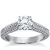 Milgrained Cathedral Pavé Diamond Engagement Ring in Platinum (1/3 ct. tw.)