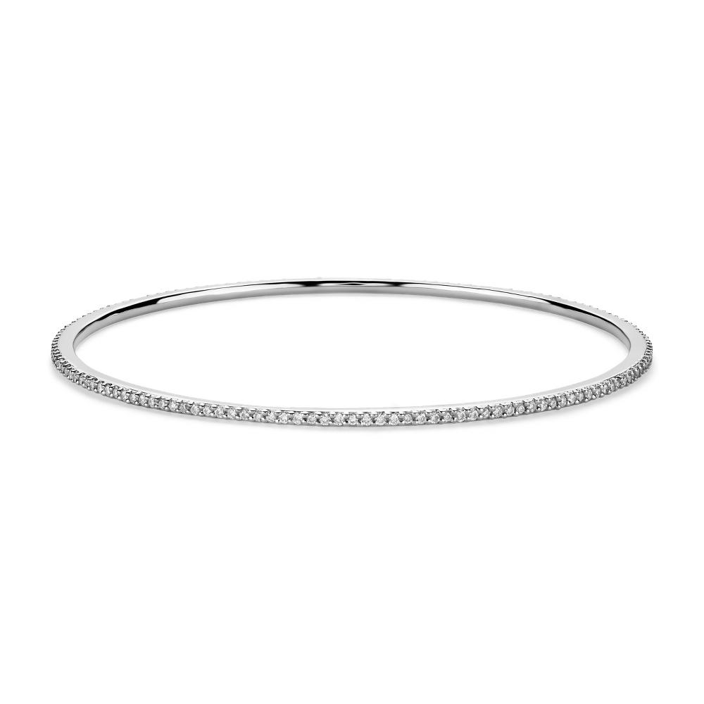 Esclava con pavé de diamantes apilable en oro blanco de 18k (1 qt. total)