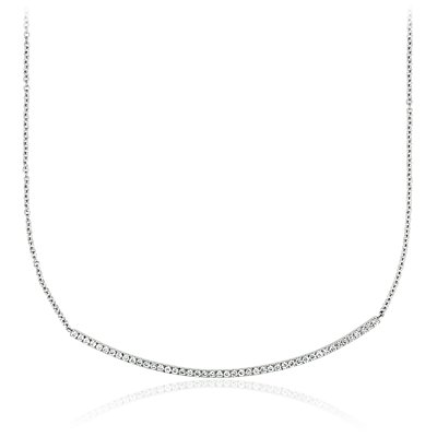 Collier barre diamants en or blanc 14 carats (1/3 carat, poids total)