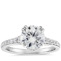 Graduated Pavé Double-Prong Engagement Ring in Platinum