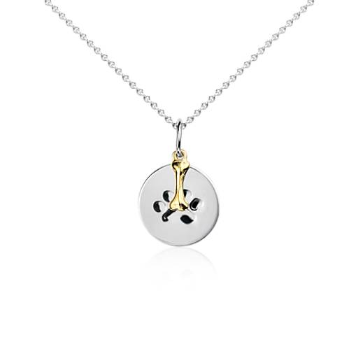 Paw Print Disc Pendant in Sterling Silver with 14k Yellow Gold Bone