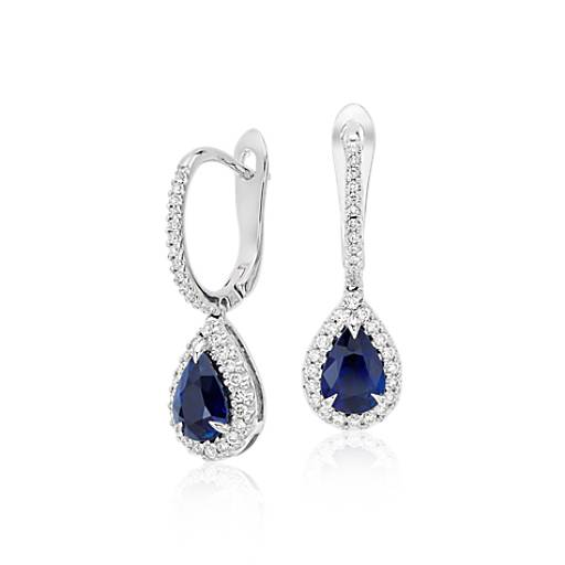 Pear Sapphire and Diamond Pavé Drop Earrings in 18k White Gold