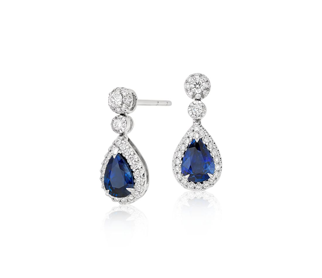 Sapphire and Diamond Pavé Drop Earrings in 18k White Gold (7x5mm)
