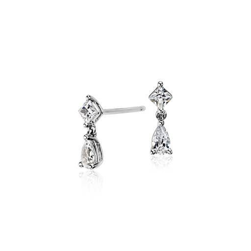 Petite Pear and Princess Diamond Drop Earrings in 14k White Gold