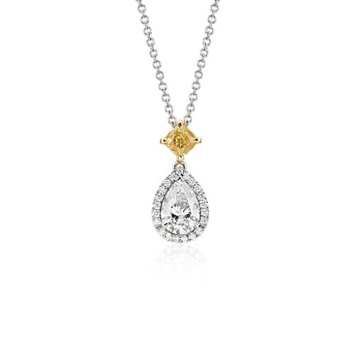 NEW Pear-Shaped Diamond Halo Drop Pendant in 18k White (1.52 ct. tw.)