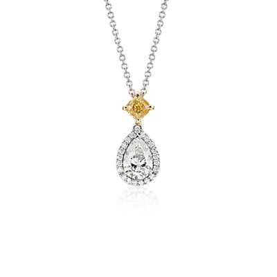 Pear-Shaped Diamond Halo Drop Pendant in 18k White (1.52 ct. tw.)
