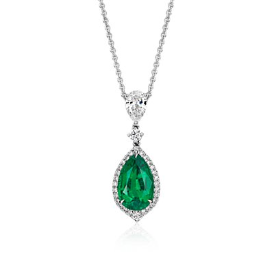 Pear-Shape Emerald and Pavé Halo Diamond Drop Pendant in 18k White Gold  (2.71 ct. center)