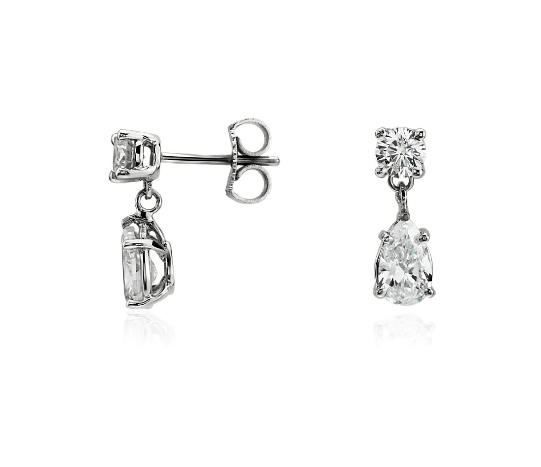 Round and Pear Diamond Earrings in 14k White Gold (1 ct. tw.)