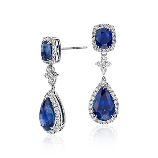 Sapphire and Diamond Drop Earrings in 18k White Gold (8.21 cts)