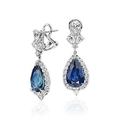 NEW Pear Shape Sapphire and Diamond Drop Earrings in 18k White Gold