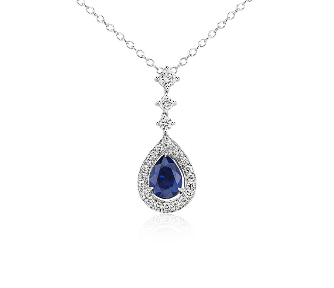 Pear Shape Sapphire and Diamond Halo Drop Pendant in 18k White Gold (1.75 cts)