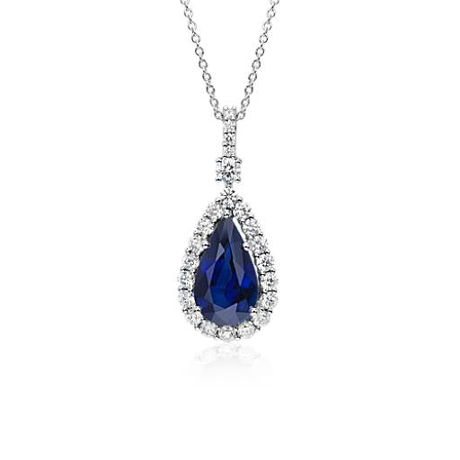 NEW Pear Shape Sapphire and Diamond Halo Dangle Pendant in 18k White Gold (3.80 ct. center)