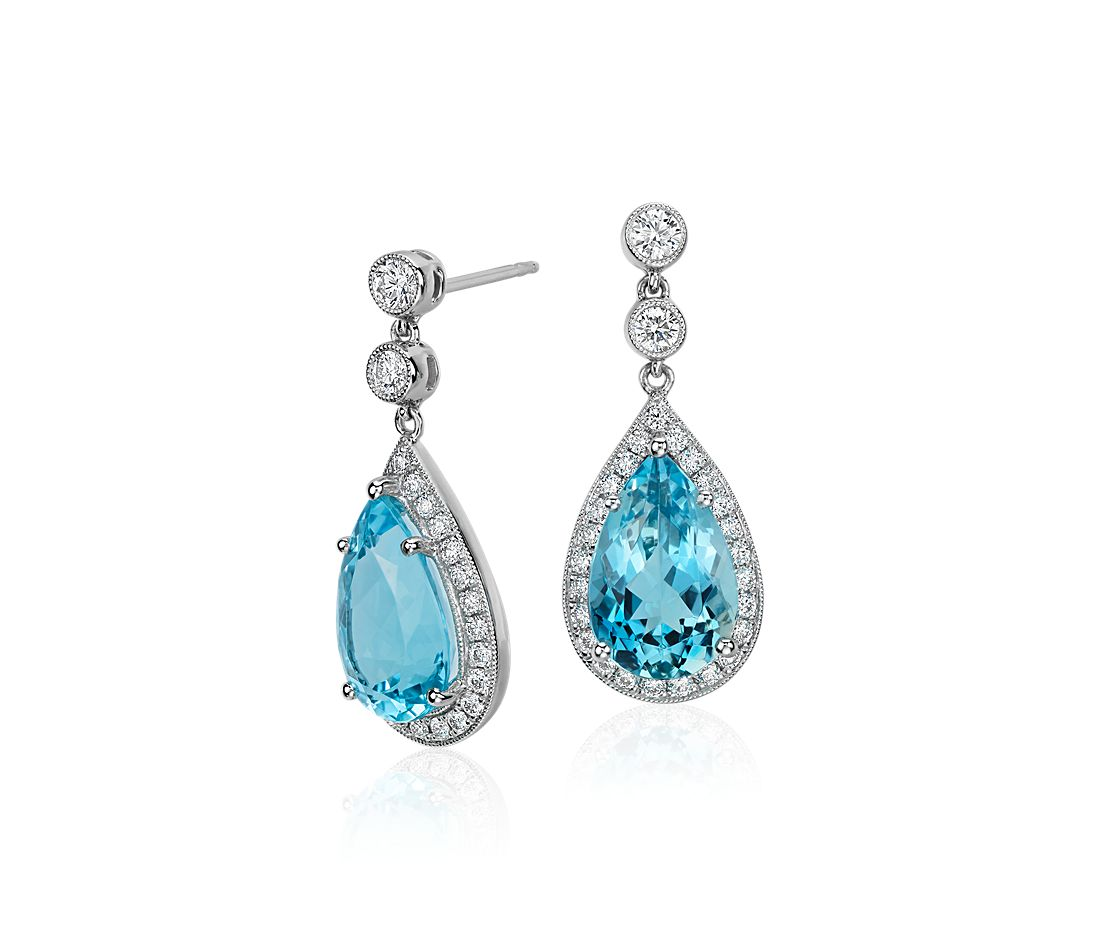 Pear-Shaped Aquamarine and Diamond Halo Drop Earrings in 18k White Gold (12x8mm)