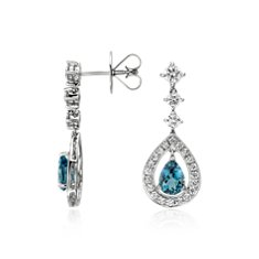 Pear Shape Aquamarine and Diamond Halo Drop Earrings in 18k White Gold