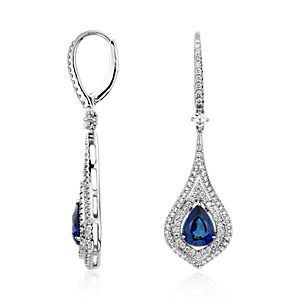 Pendants d'oreilles double halo de diamants et saphir taille poire en or blanc 18 carats (8 x 6 mm)
