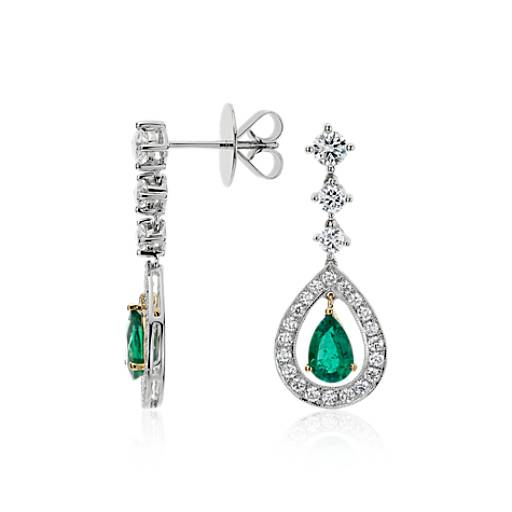 Pear Shape Emerald and Diamond Halo Drop Earrings in 18k White Gold