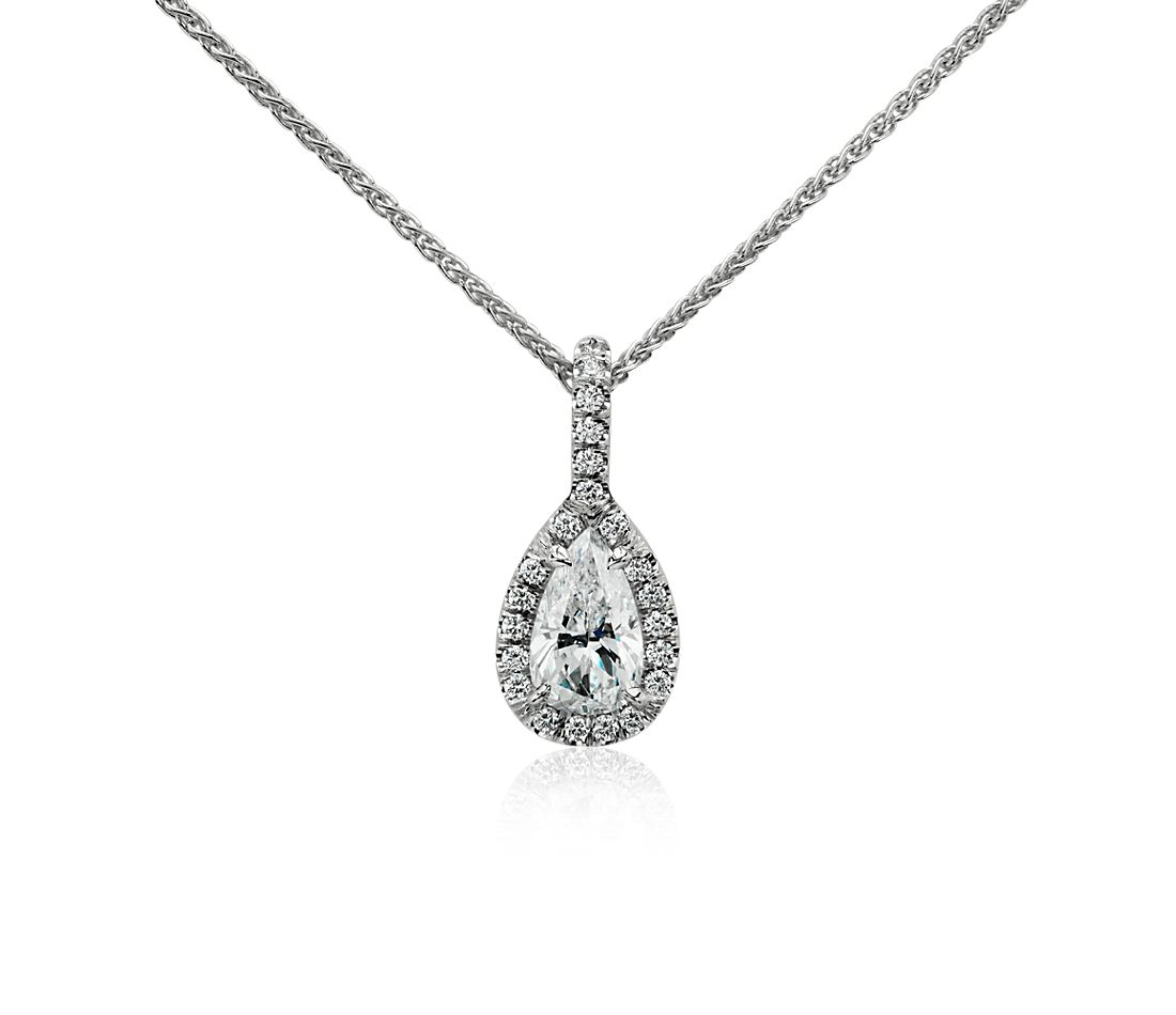 Pear Shape Halo Diamond Pendant in 18k White Gold