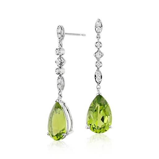 Peridot and Diamond Drop Earring in 18k White Gold (9.44 cts) (14x9mm)