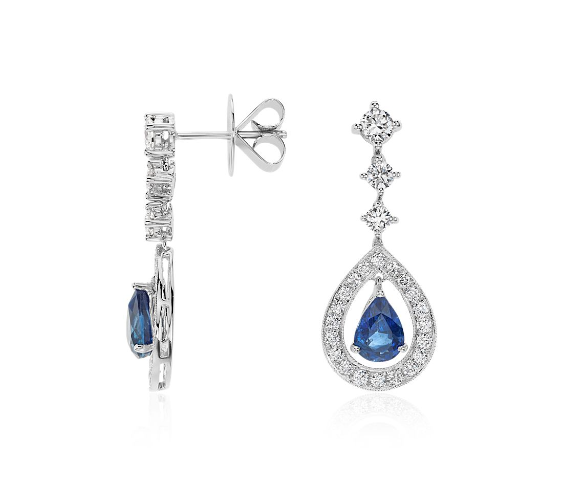 Pear Shape Sapphire and Diamond Halo Drop Earrings in 18k White Gold