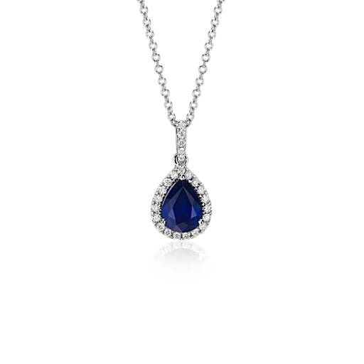 NEW Pear Shaped Sapphire Halo Pendant 18k in White Gold (8x6mm)
