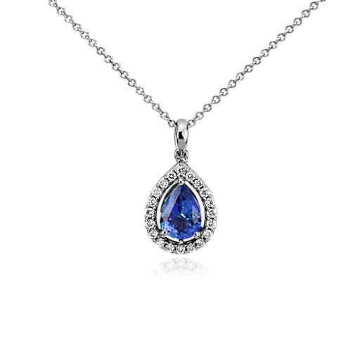 Pear Shape Tanzanite and Diamond Pendant in 14k White Gold