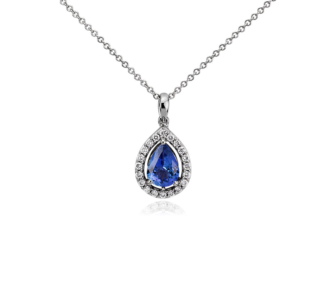 Pear Shape Tanzanite and Diamond Pendant in 14k White Gold (8x5.5mm)