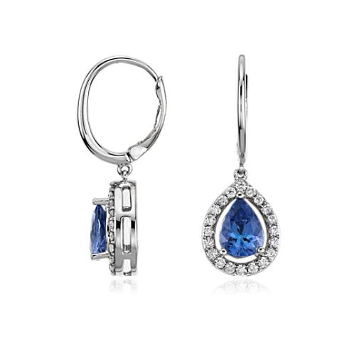 Pear Shape Tanzanite and Diamond Earrings in 14k White Gold (8x5.5mm)