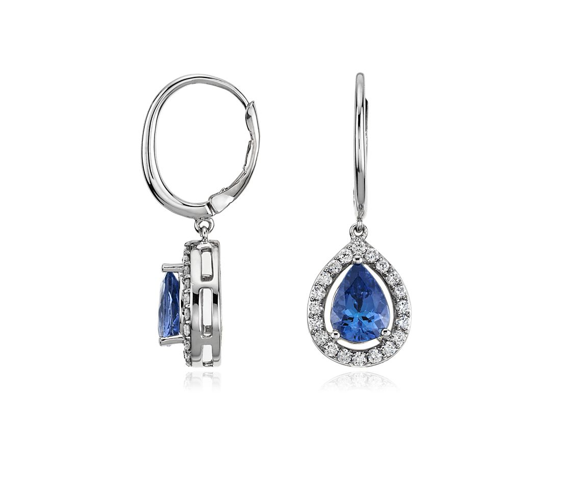 Pear Shape Tanzanite and Diamond Earrings in 14k White Gold