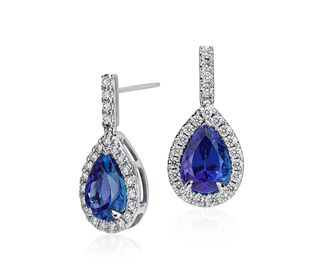 Pear Shape Tanzanite and Diamond Earrings in 18k White Gold (6.82ct tw)
