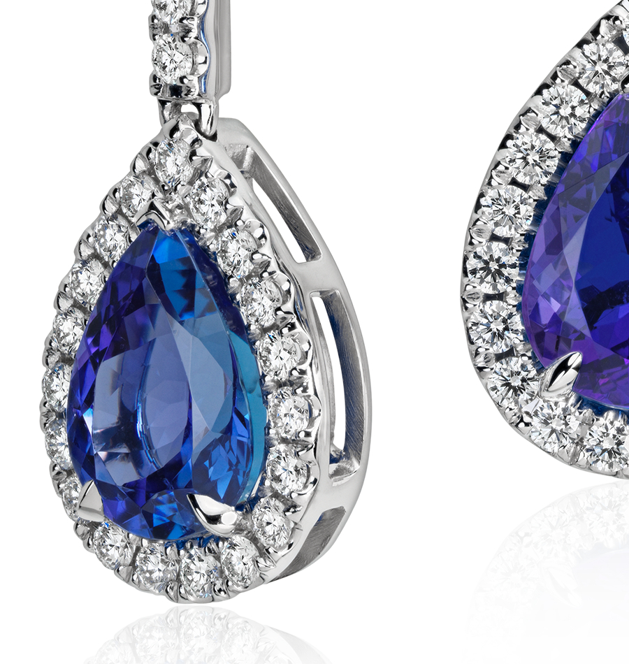 Pear Shape Tanzanite and Diamond Earrings in 18k White Gold (5.98 ct)